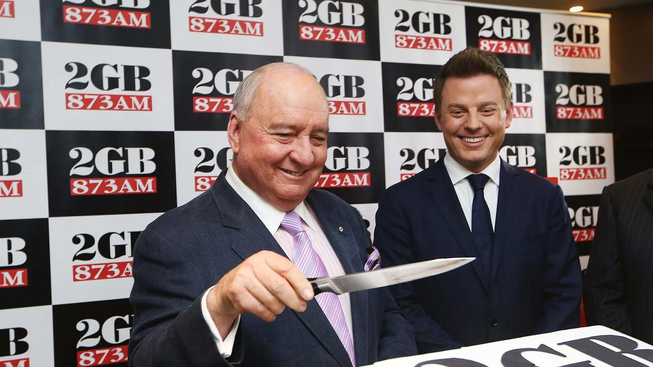 Alan Jones (left) and his successor Ben Fordham, at a celebration to mark 2GB radio's 10 straight years as Sydney's number one radio station. Picture: John Feder
