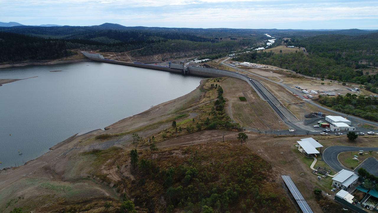 A drone shot of Paradise Dam .Work to lower the spillway by 5.8 metres began on Monday. Picture: Mike Knott.