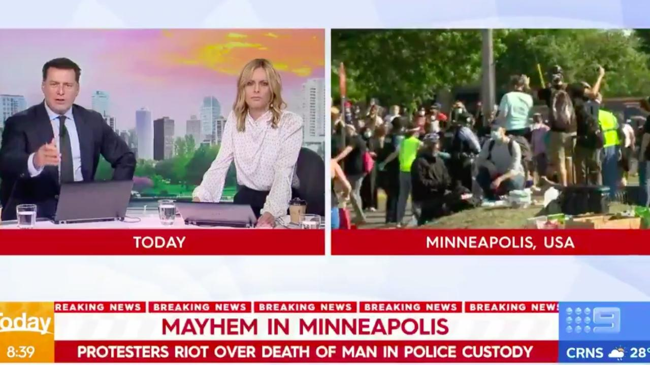 'It's like a war zone': Today host Karl Stefanovic said of the scenes in Minneapolis.