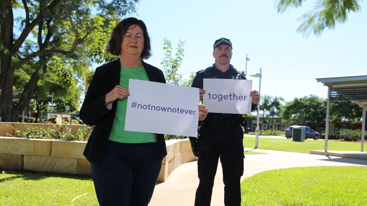 PREVENTION MONTH: Mayor Anne Baker and Moranbah Senior Sergeant Adam Dyer.