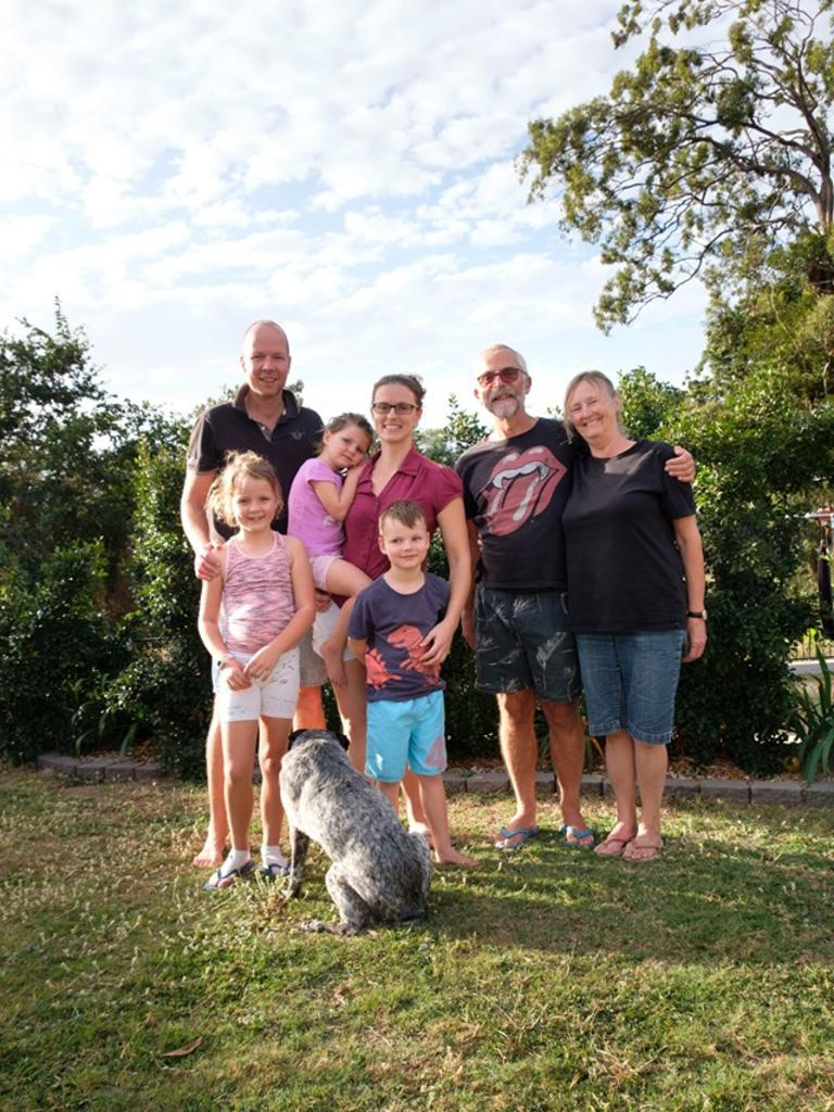 HOME IS WHERE THE HEART IS: Samantha, Mark, Jessica, Jane and Oliver Lincoln, Clive Bass and Kerry Jones enjoying family time amid the pandemic.