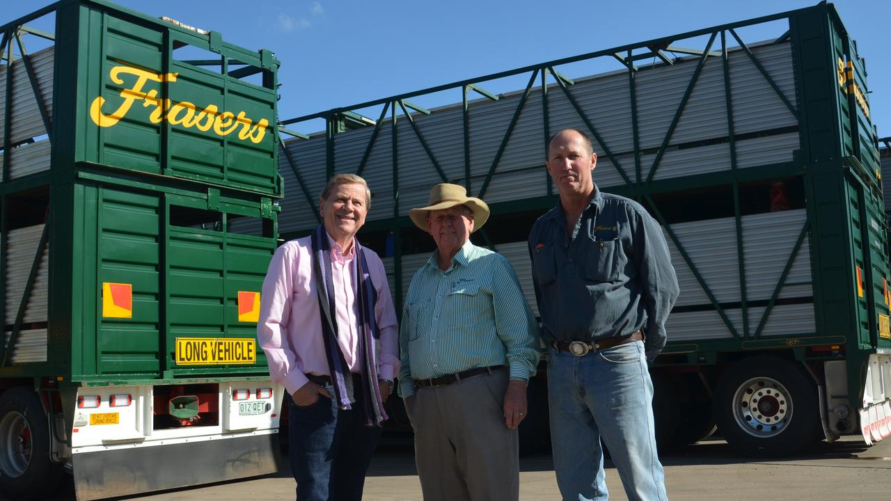 INDUSTRIES' FINEST: TV journalist Ray Martin with Ross Fraser and Mark Collins from Frasers Livestock Transport. Picture: Jessica Paul