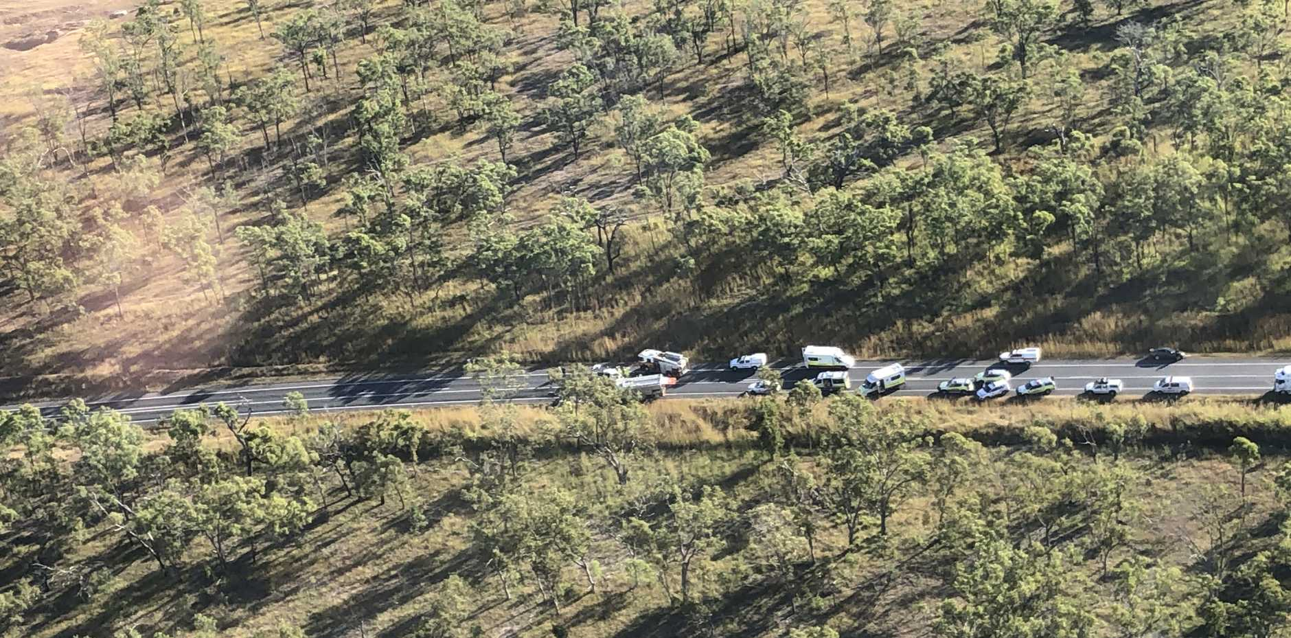 CRASH SCENE: RACQ Capricorn Rescue Helicopter has posted up pictures taken from the scene of yesterday's Bruce Highway crash near Midgee.