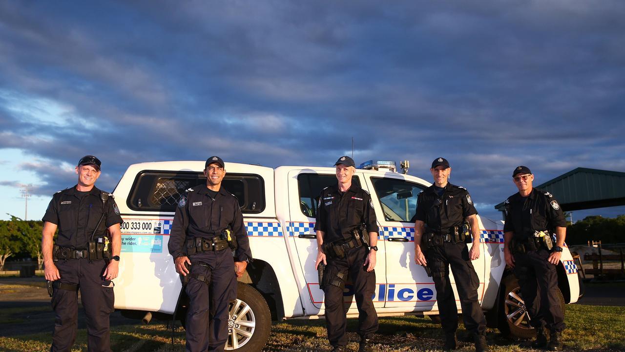 The Cairns members of the Queensland Police dog squad: Senior Constable Glen Buckle, Senior Constable Felipe Peraza, Sergeant Dave Raymond, Senior Constable Adrian Marek and Senior Constable Dan Fysh. PICTURE: BRENDAN RADKE