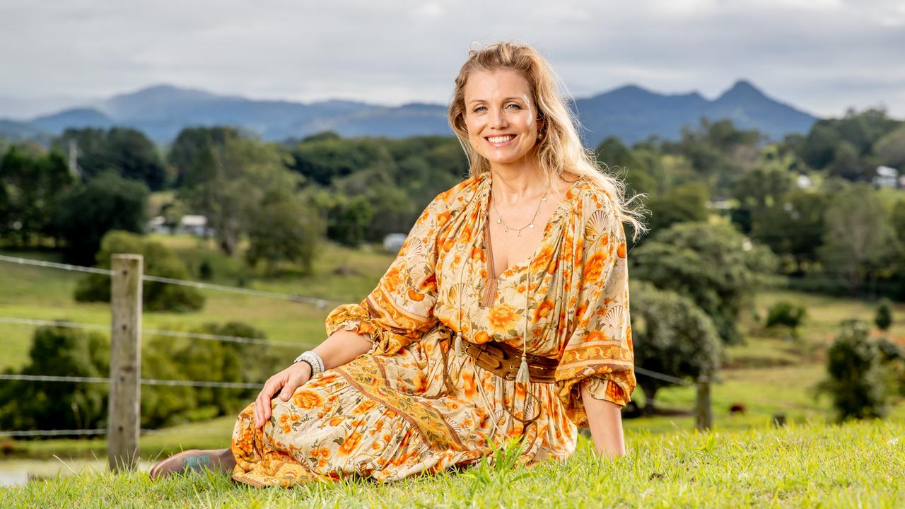 McLeod's Daughters star Bridie Carter at home on her Myocum property. Picture: Luke Marsden.