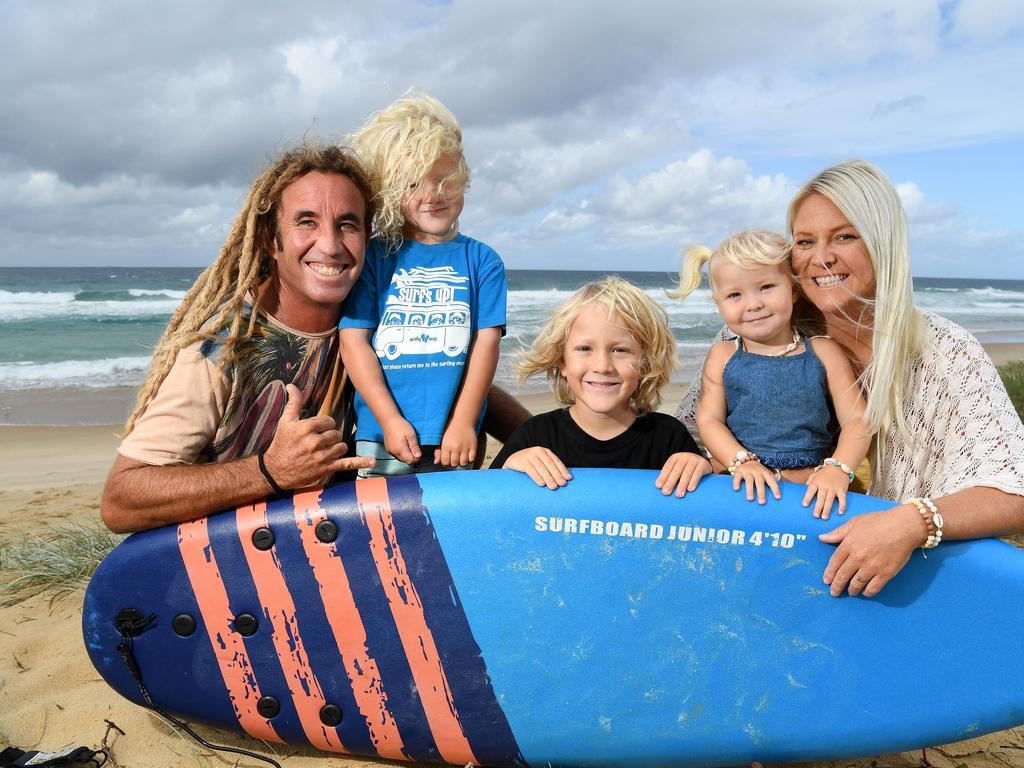 During the lockdown the Howland family enjoyed home schooling 6 year old Bodie, the only one who is at school. It was good prep for the trip round Australia the whole family's about to embark on. Glenn, Reef, 3, Bodie, 6, Ocean, 2, and Kelly Howland at the beach.