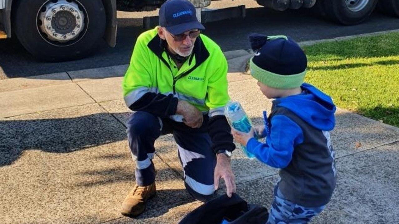 Geelong boy Arkady Douglass celebrates his birthday with cleanaway garbage man