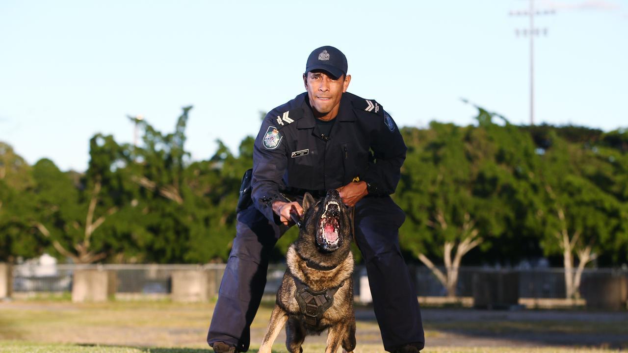 Senior Constable Felipe Peraza with his dog Ziggy. PICTURE: BRENDAN RADKE