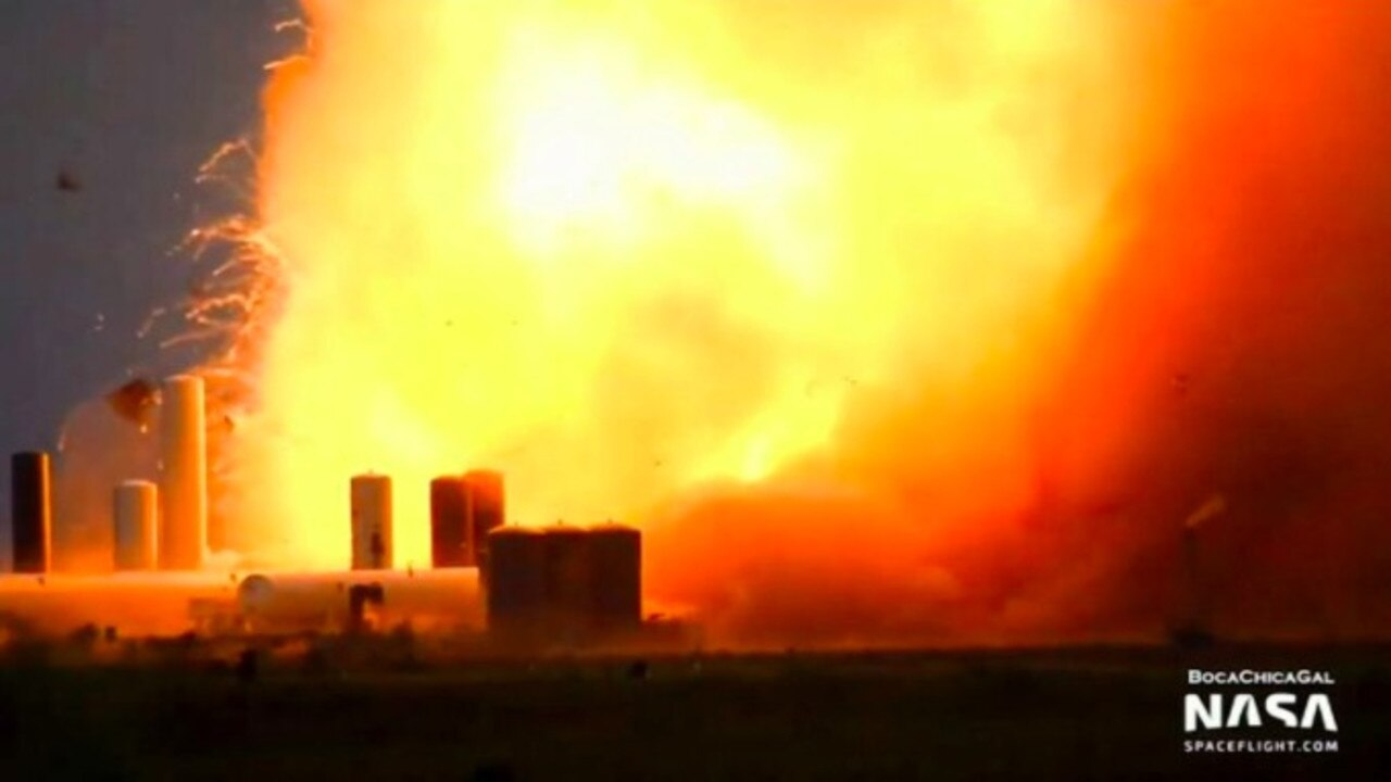 A SpaceX launch vehicle prototype burst into flames during a test at a Texas launch pad Friday afternoon.