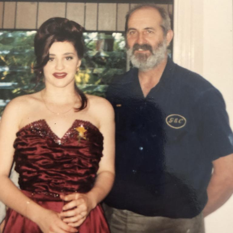 Melissa Pryke with her father Perry at her Year 12 formal at Coorparoo State High School.