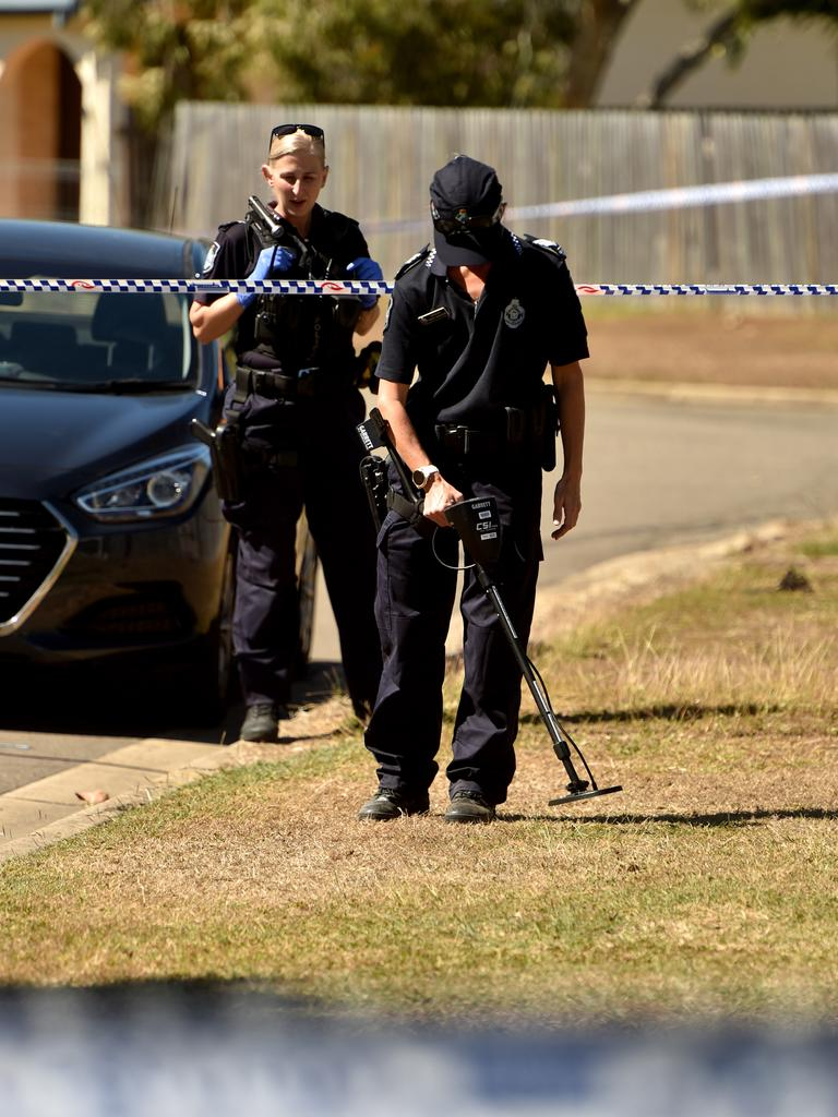 Casings were found on the street after a drive-by shooting. Picture: Evan Morgan
