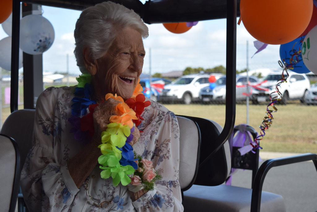 Image for sale: Almira Argent's was taken around the Breezes retirement village as residents wished her a happy 100th birthday. Picture: Heidi Petith