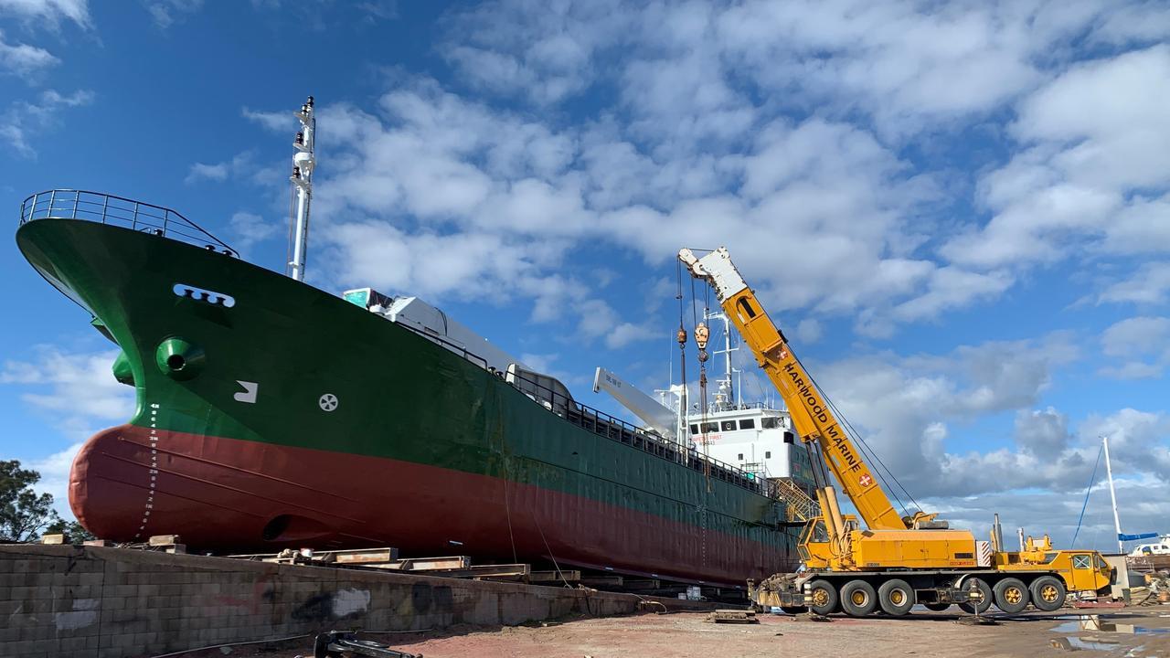 The ship Vanuatu Cargo undergoing work at Harwood Marine.