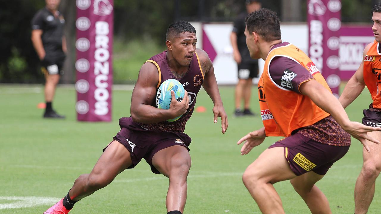 Brisbane youngster Tesi Niu is going to be used off the bench against the Roosters. Picture: Peter Wallis