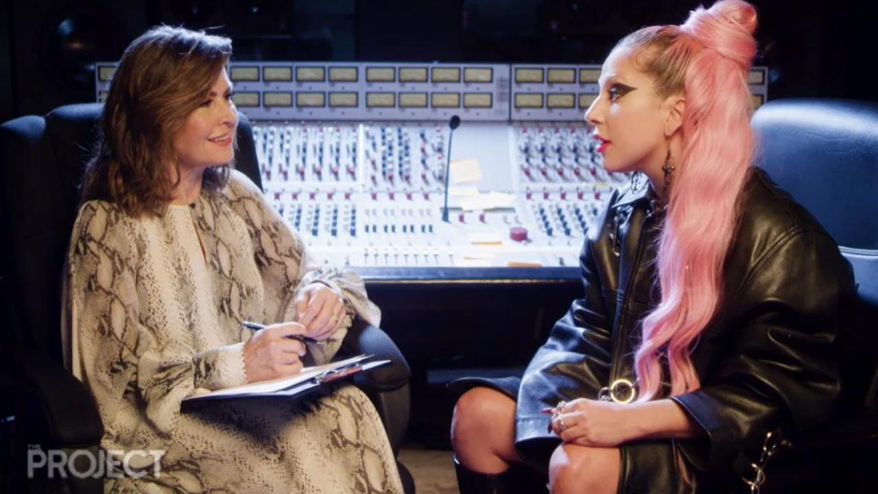Lisa Wilkinson and Lady Gaga talk about being bullied on The Sunday Project. Picture: Channel 10