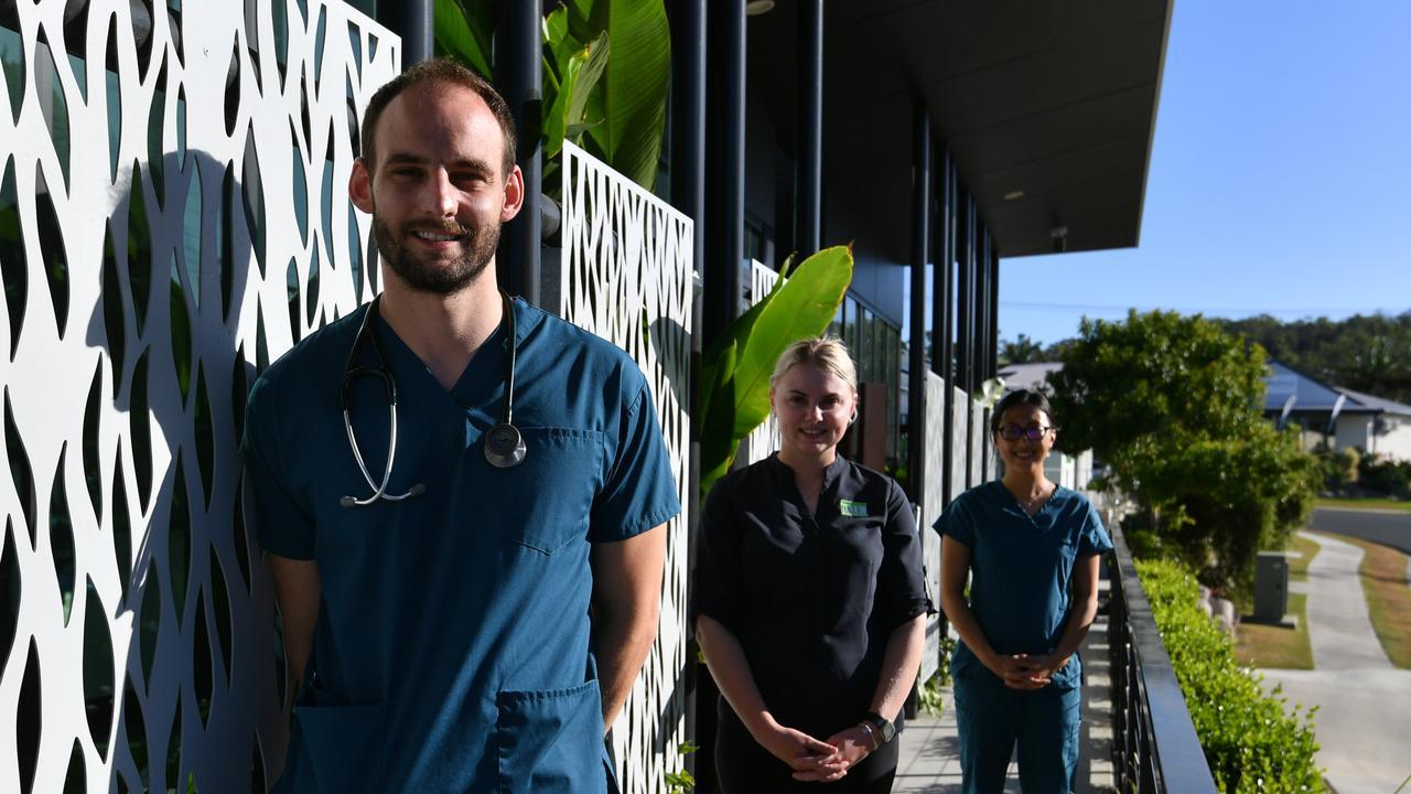 BITS medical staff Dr Richard Gaiger, Amber Isenbert and Dr Melisa Ng at the respiratory clinic.