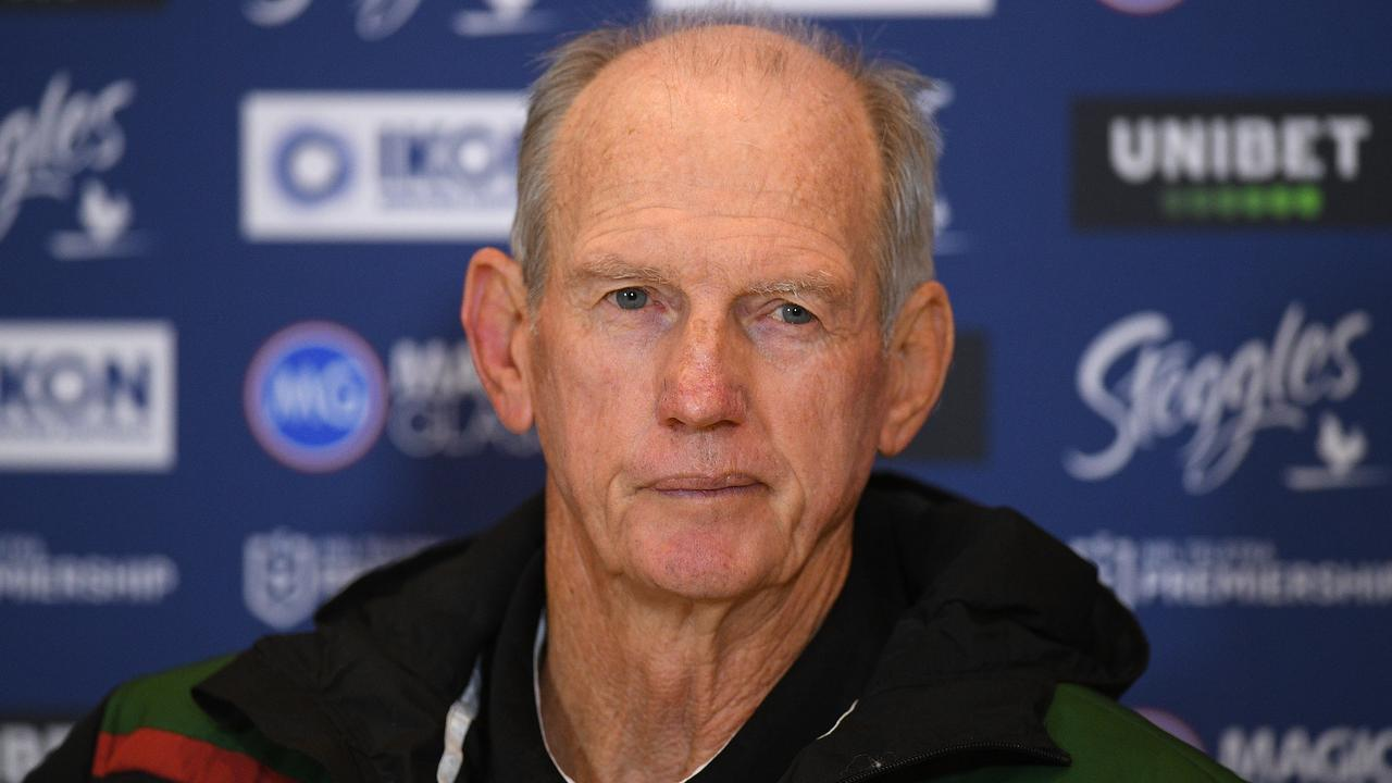 Rabbitohs coach Wayne Bennett has been tipped for a return to the Dragons. Picture: Dan Himbrechts/AAP