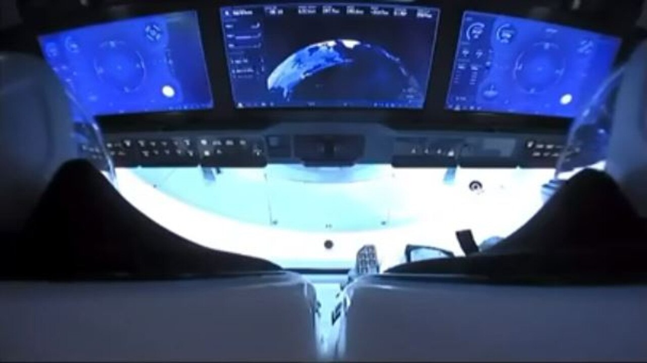 A live look inside the Crew Dragon capsule.