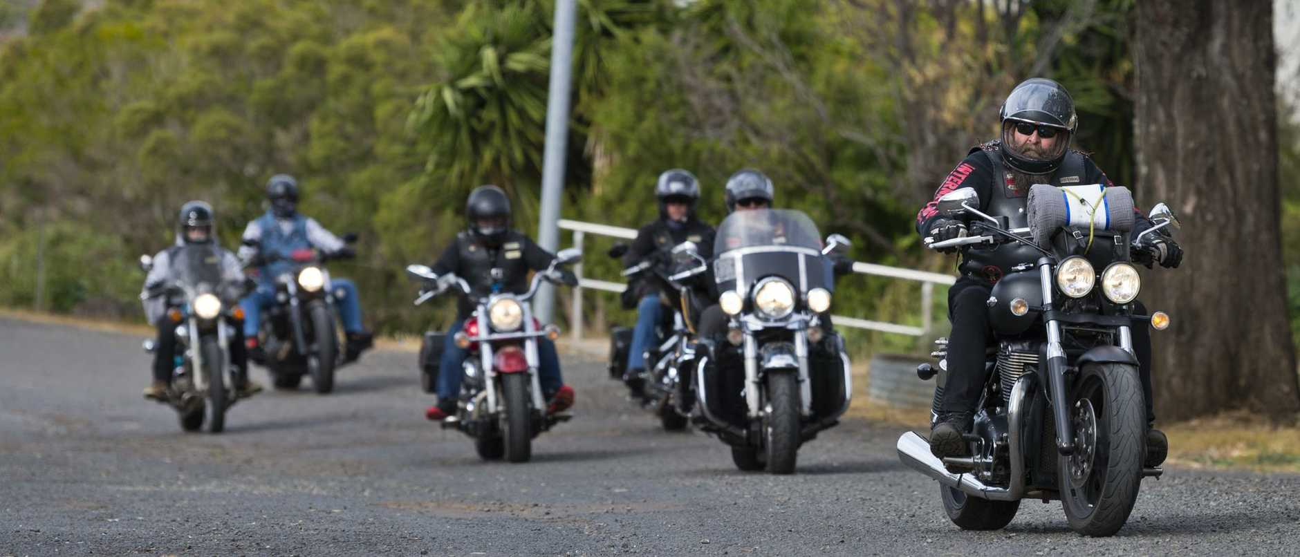 Members of God's Squad CMC deliver blankets for the 2020 Huggie Bear Memorial Toowoomba Blanket Run organised by Downs Motorcycle Sporting Club under coronavirus restrictions, Sunday, May 31, 2020. Picture: Kevin Farmer