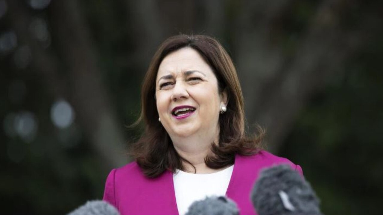 Premier Annastacia Palaszczuk announcing the clearance to travel yesterday. Picture: News Corp/Attila Csaszar