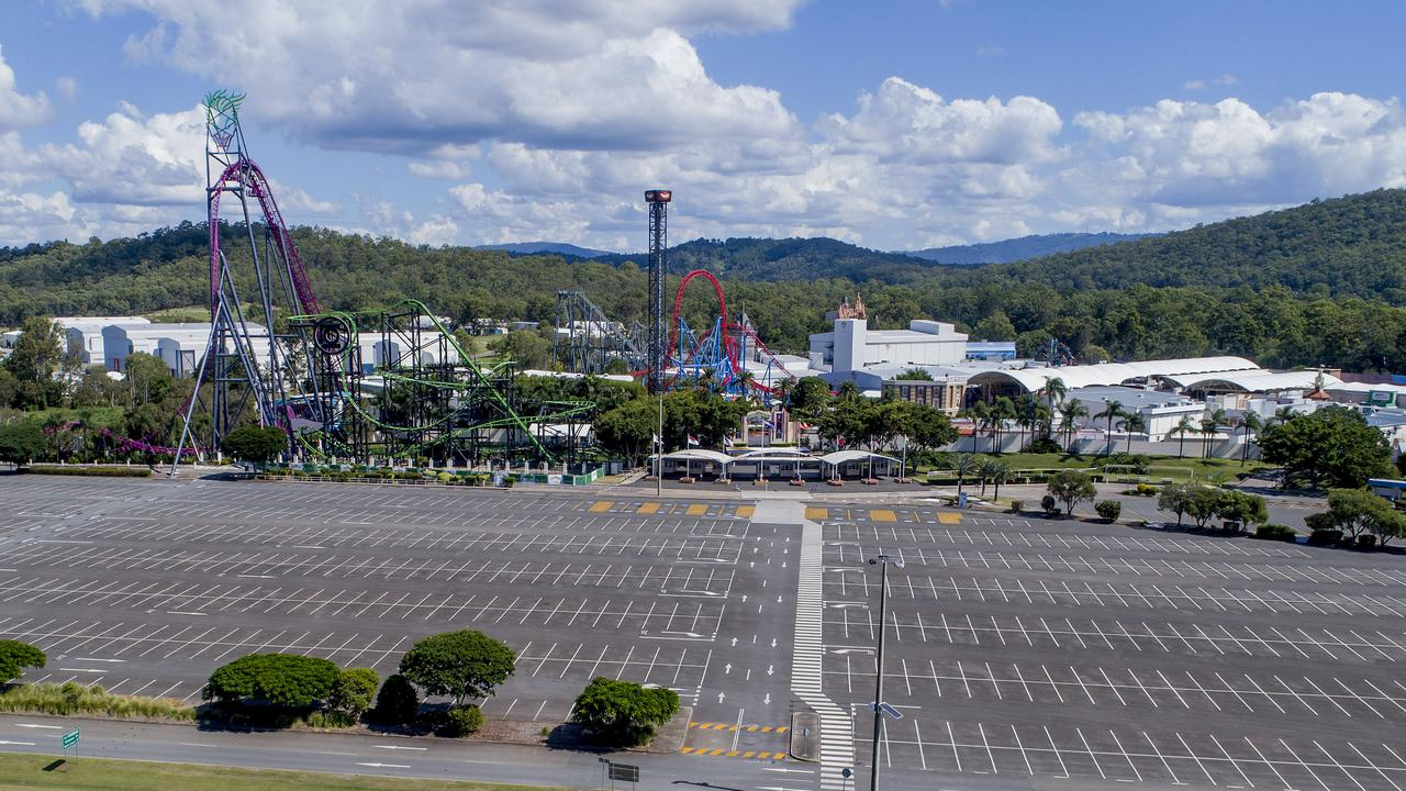The empty carpark of Warner Bros. Movie World. Picture: Jerad Williams