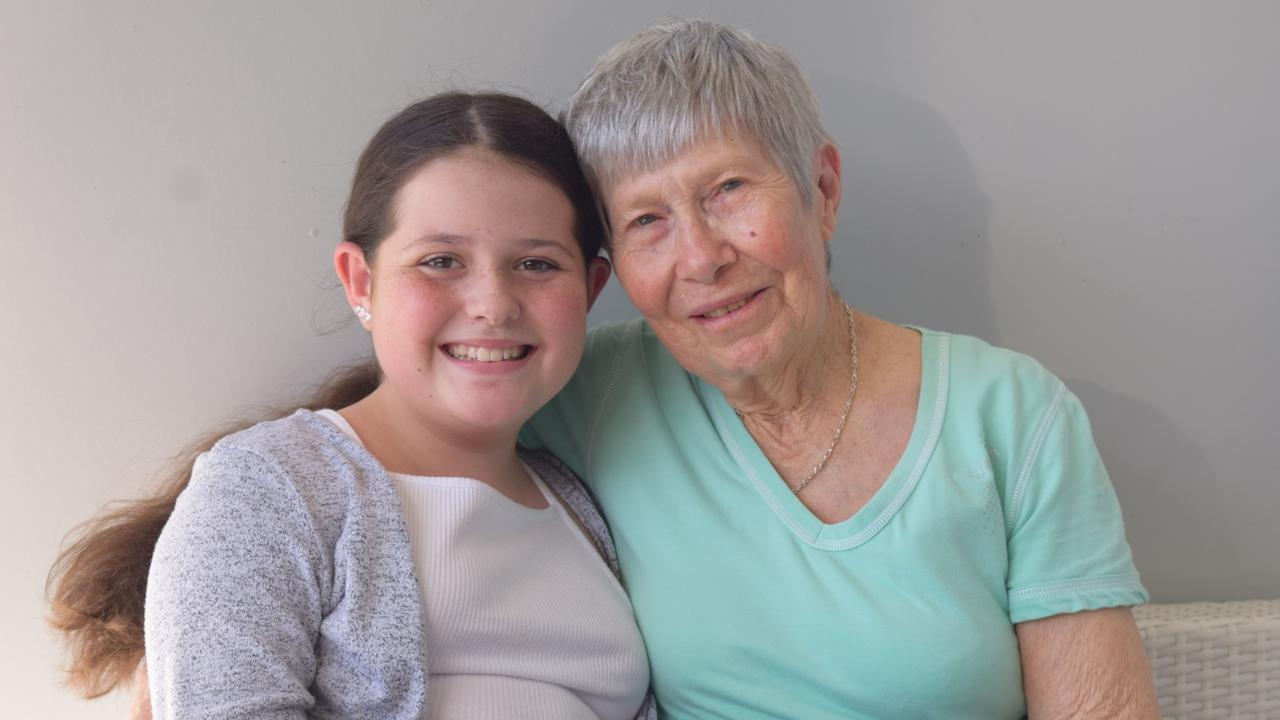 Bree Sehmish, 12, with her Nanny Mary Dolan. Picture: Heidi Petith