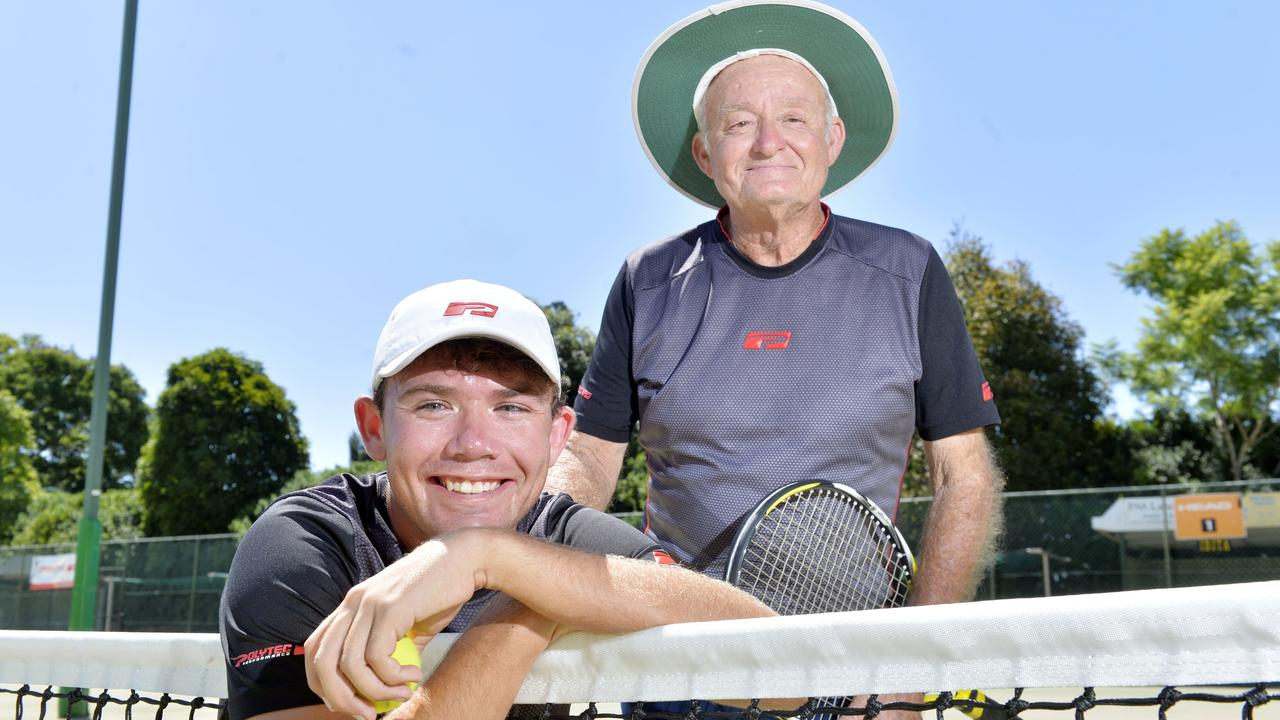 Long-serving Ipswich tennis coach Stan Cuthbert with world singles champion and fine role model Archie Graham. Picture: Inga Williams