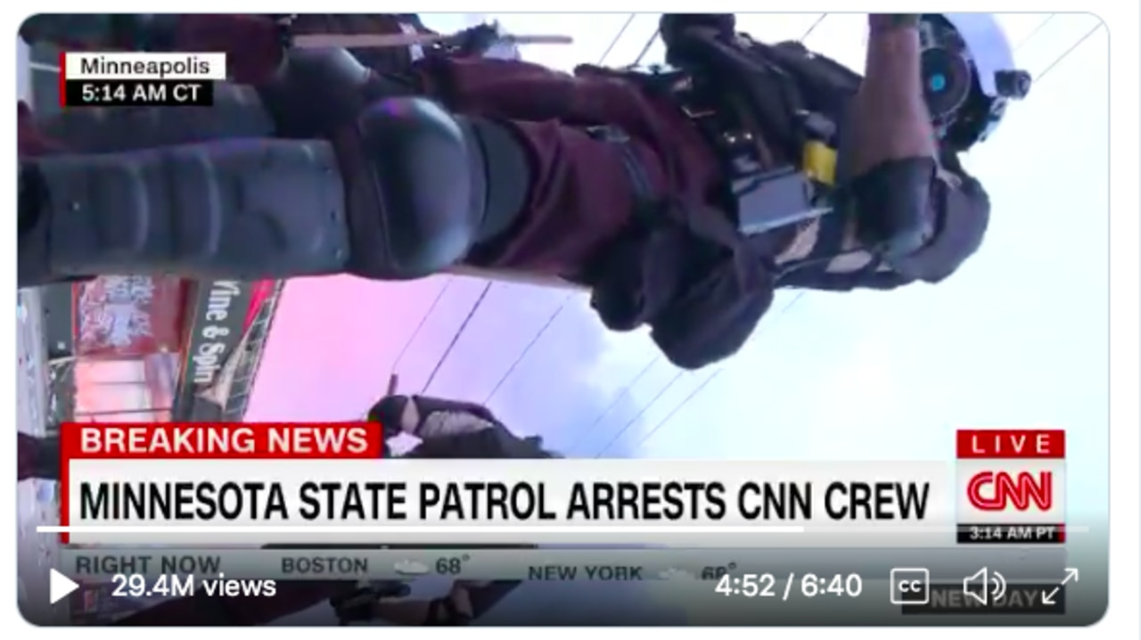 This is the dodgy-looking last shot of the CNN live broadcast as the entire crew are arrested, and are forced to leave their camera behind.
