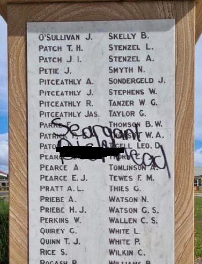 The Crows Nest War Memorial was vandalised.
