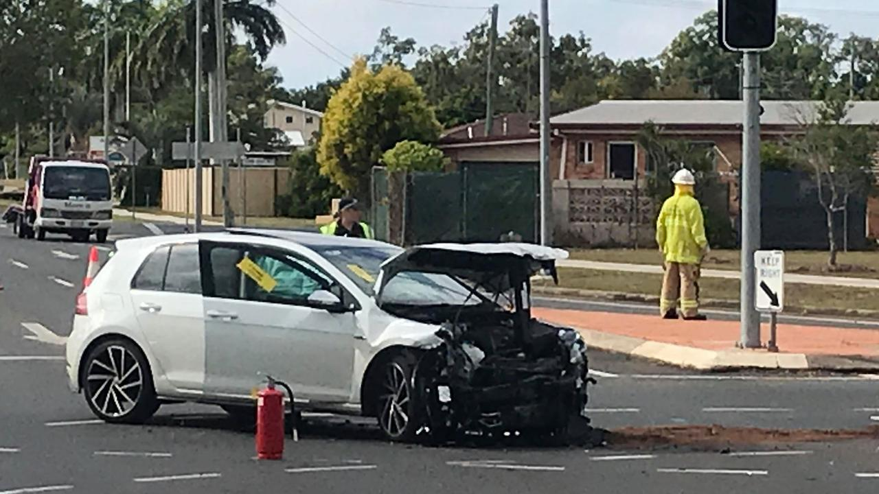 Emergency services attended the two vehicle crash at Walker St and Elliott Heads Rd this morning.
