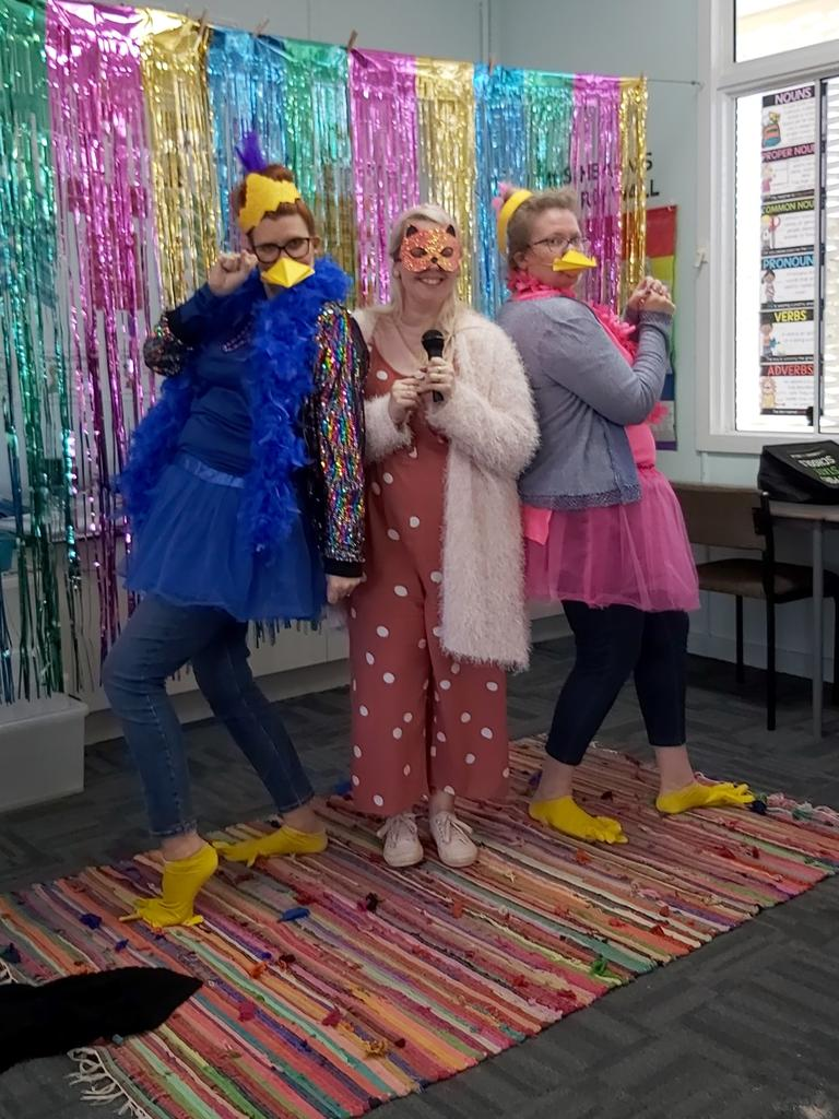STORYTIME IN STYLE: Gin Gin State School year four and five teacher Nelle Hearn, year three and four teacher Allison Evans and teacher and librarian Alicia Paton.
