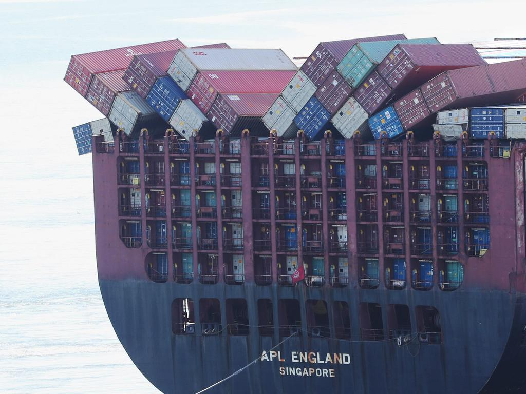 The container ship APL England arrives at the Port of Brisbane. Pic Peter Wallis