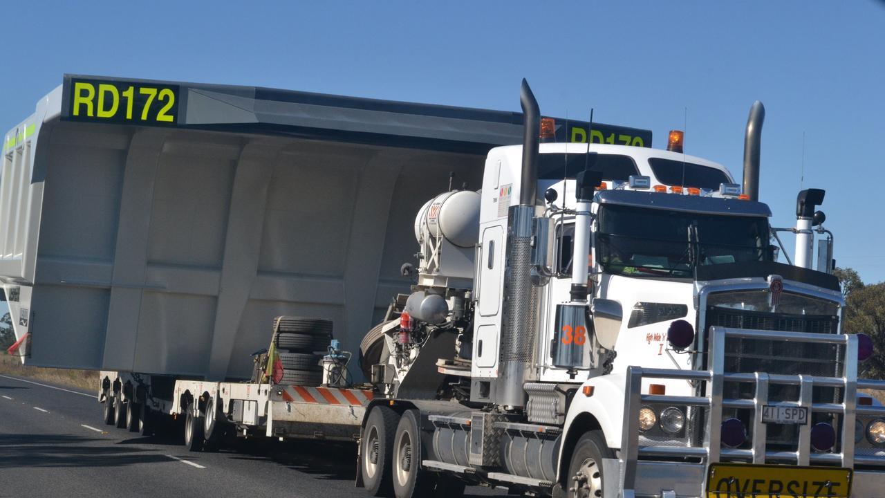 An oversized truck on Warrego Hwy near Chinchilla. Photo Derek Barry / Surat Basin News
