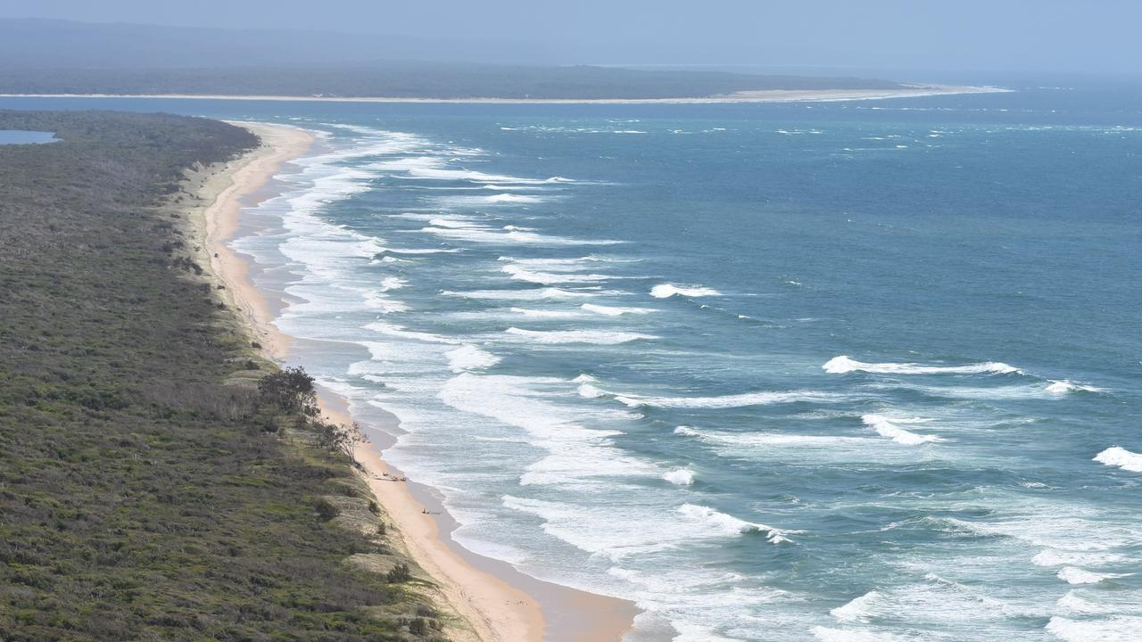 Inskip Point ocean beach with Wide Bay Bar and Fraser Island to the north..