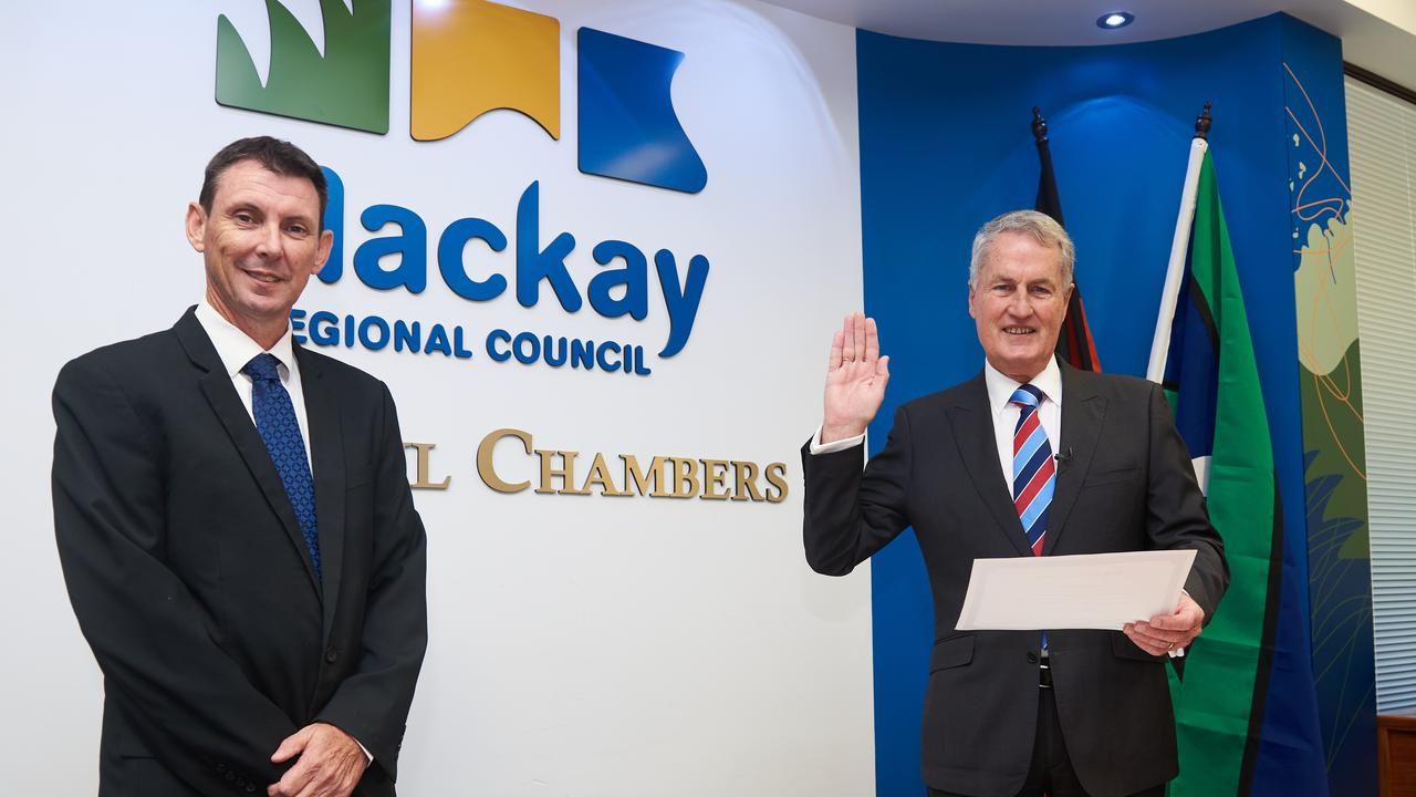 Mayor Greg Williamson was sworn in as mayor of Mackay Regional Council by CEO Craig Doyle.