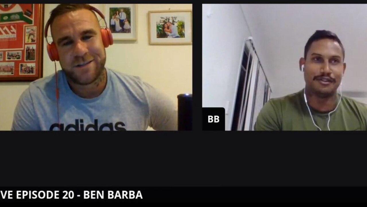 Ben Barba (right) talking with T.I. Talks Footy host Tye Ingebrigsten on Sunday night.