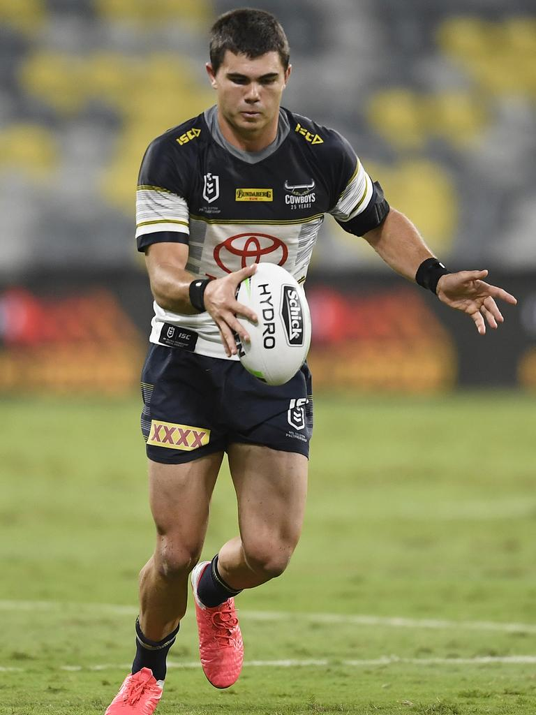 Jake Clifford of the Cowboys kicks the ball during the round three NRL match between the North Queensland Cowboys and the Gold Coast Titans at QCB Stadium on May 29, 2020 in Townsville, Australia. (Photo by Ian Hitchcock/Getty Images)