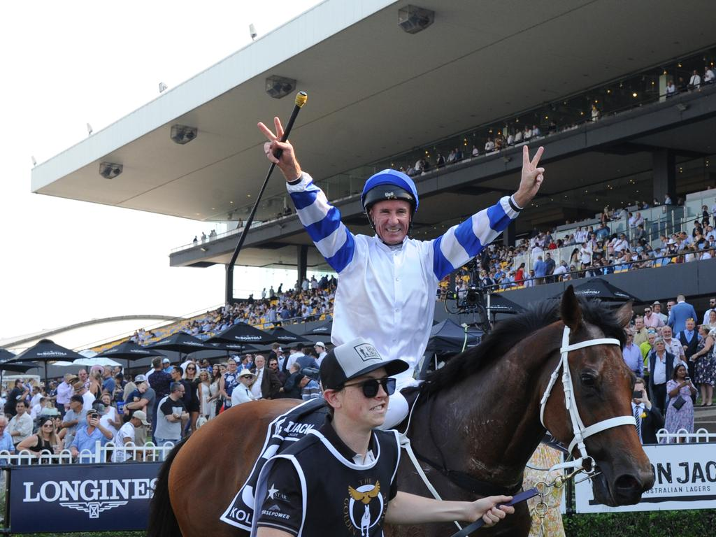 Jockey Glen Boss returns to scale after riding Kolding to victory in the Iron Jack Golden Eagle. Picture: AAP/Simon Bullard