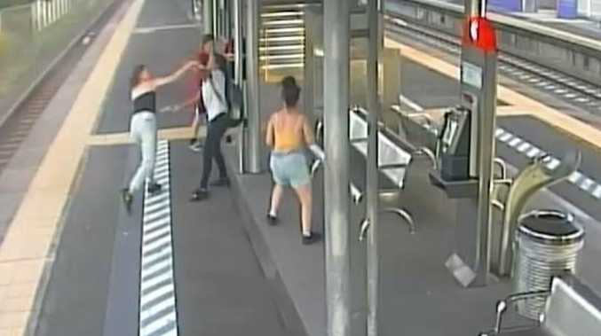 Moment teen girls went wild at city train station