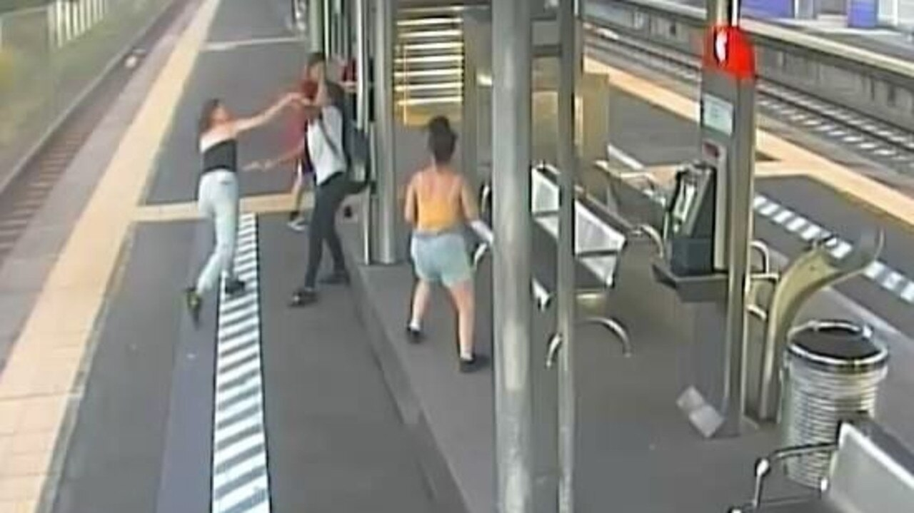Police have released CCTV images of four female teenagers who allegedly bashed a 23-year-old commuter at Runcorn Railway Station last Thursday at about 4.30pm. Picture: Supplied