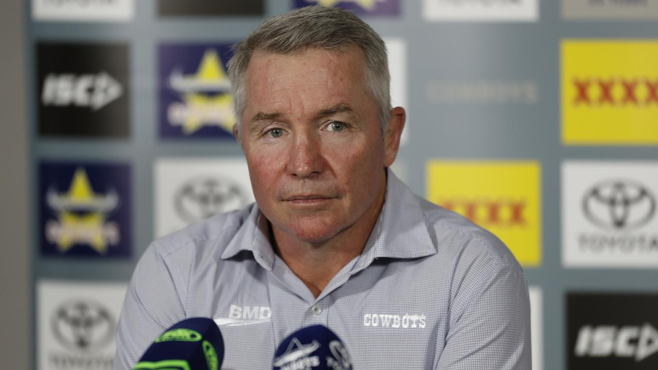 North Queensland Cowboys coach Paul Green speaks at a press conference after the Round 3 NRL match between the North Queensland Cowboys and the Gold Coast Titans at Queensland Country Bank Stadium in Townsville, Friday, May 29, 2020. (AAP Image/Cameron Laird)