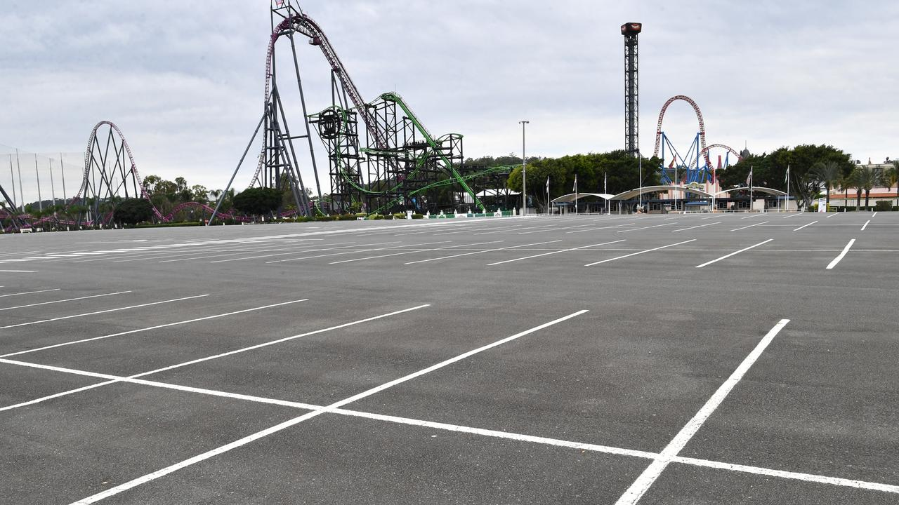 An empty car park is seen at Warner Bros Movie World. AAP Image/Darren England)