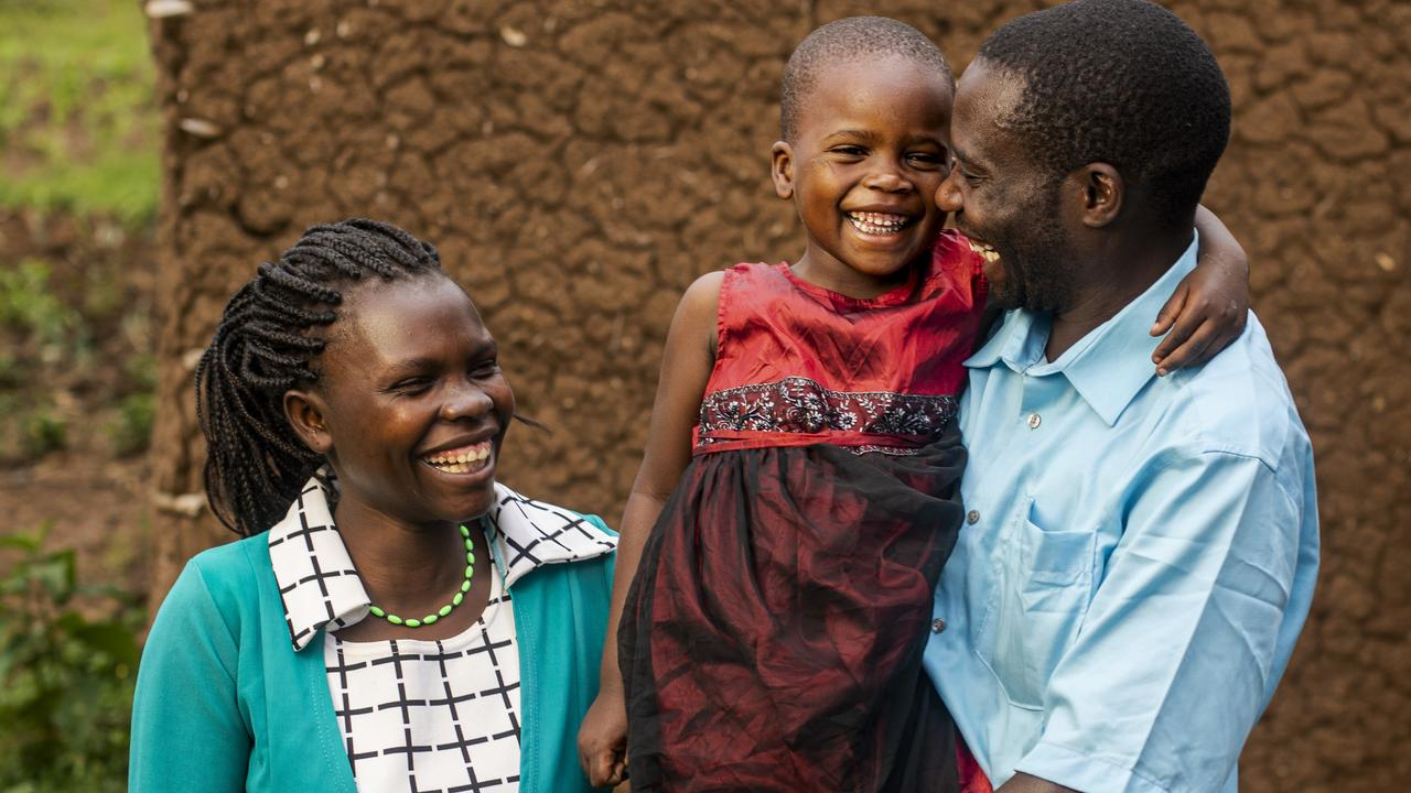 EYESIGHT RESTORED: Five-year-old Night Baeni with her parents Stephen and Deborah from Kenya.