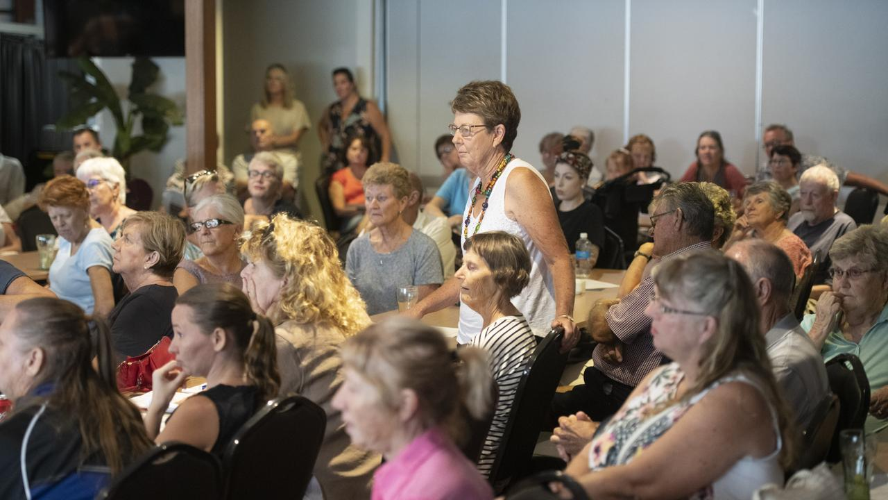 Former Director of Nursing Maclean Hospital Anne Farrell asks a question at the community information session over Maclean Hospital