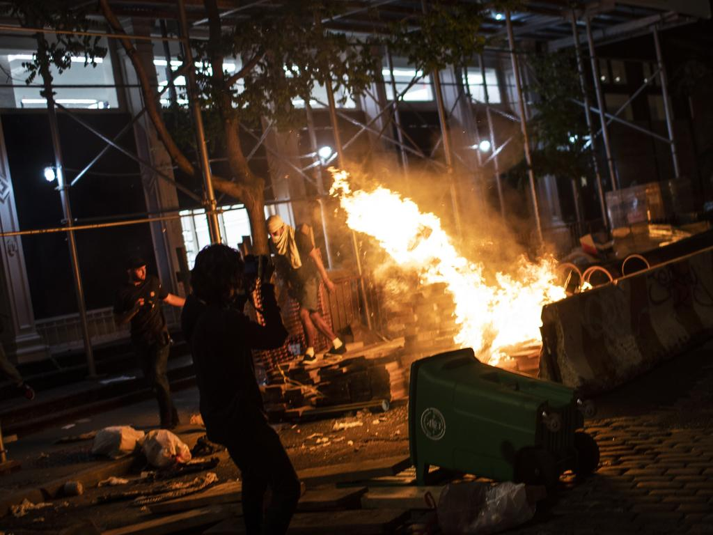 Protesters start fires along the SoHo shopping district of Manhattan in protest over the death of George Floyd, a black man in police custody in Minneapolis. Picture: AP Photo