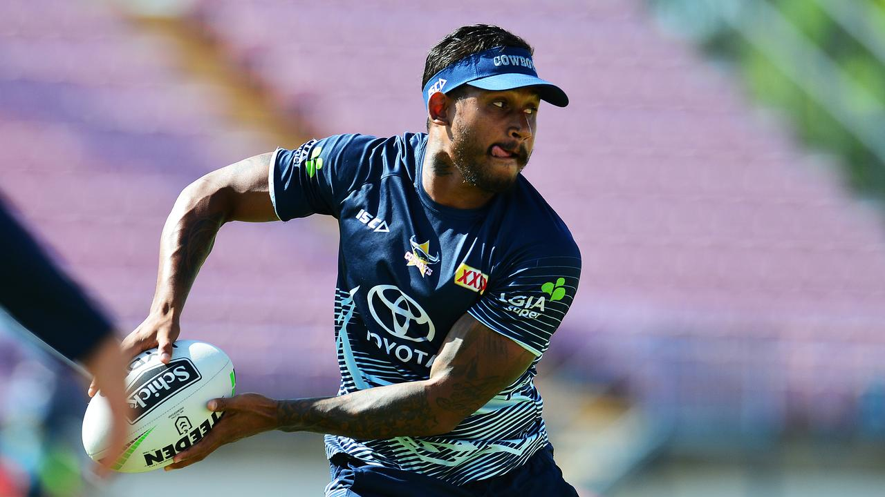 Ben Barba training for the North Queensland Cowboys at 1300 Smiles Stadium. Picture: Zak Simmonds
