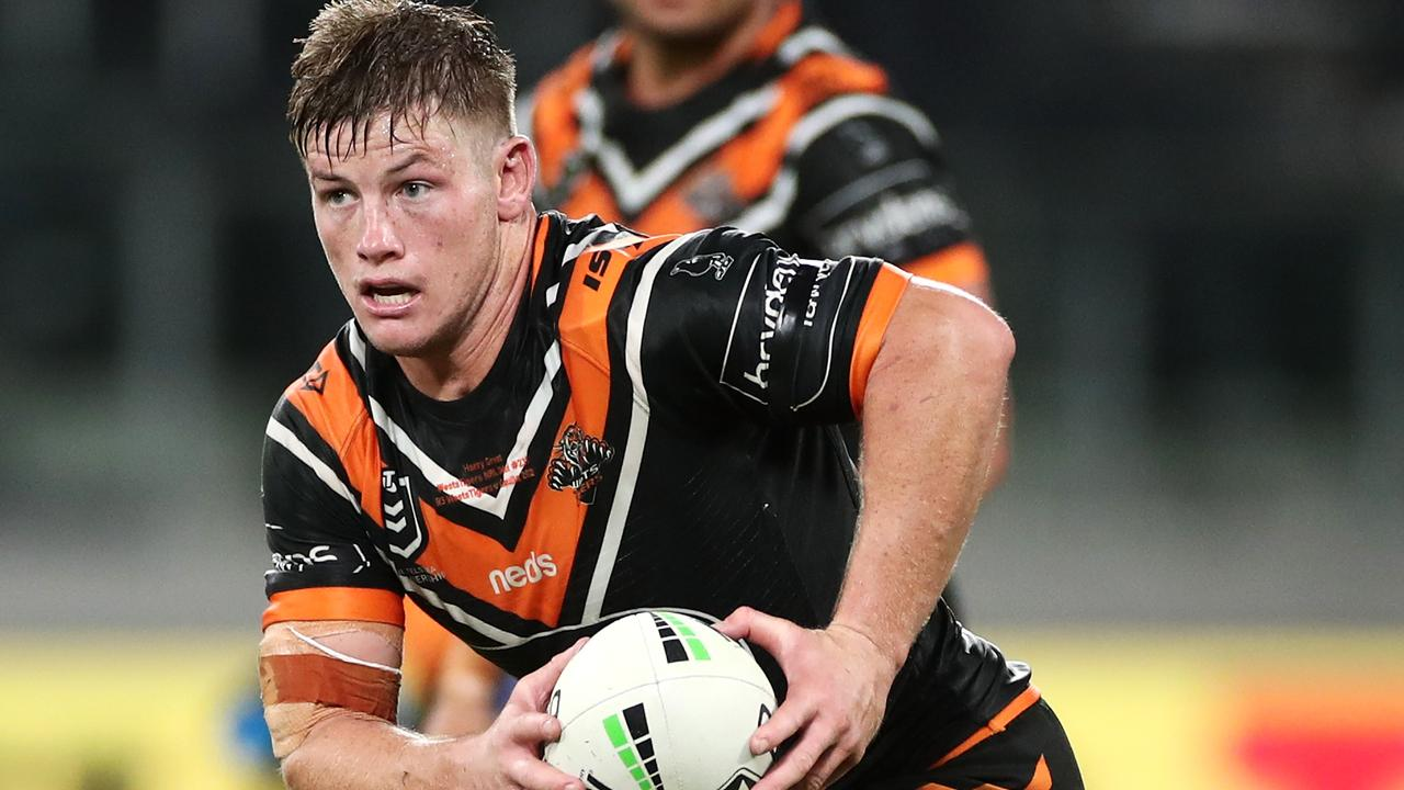 Harry Grant wasted little time making his mark for Wests Tigers. Picture: Cameron Spencer/Getty Images