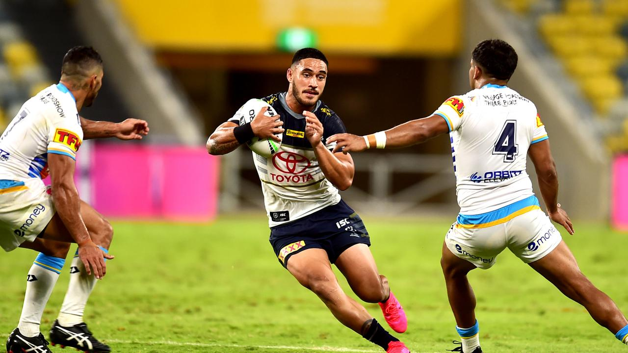 NRL; North Queensland Cowboys Vs Gold Coast Titans at Queensland Country Bank Stadium. Valentine Holmes. Picture: Alix Sweeney