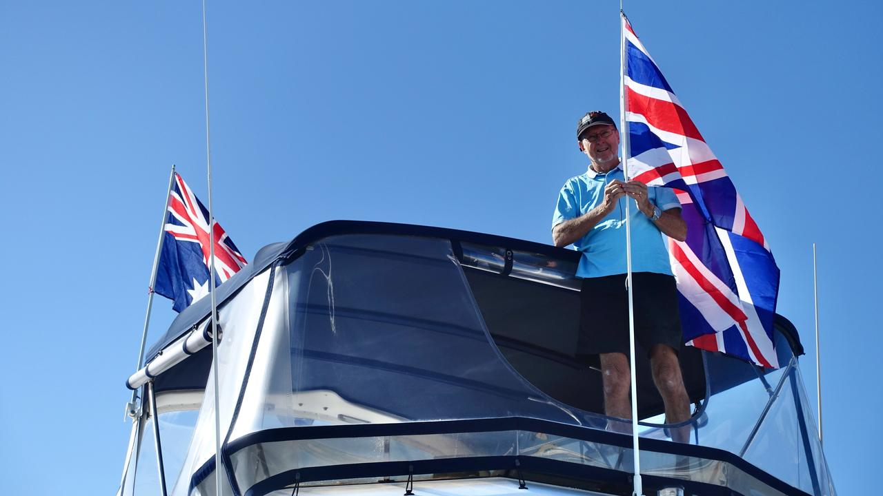 """SPECIAL: Don Fee """"dressing"""" his vessel NEESEA for the commemoration service. Picture: Contributed"""