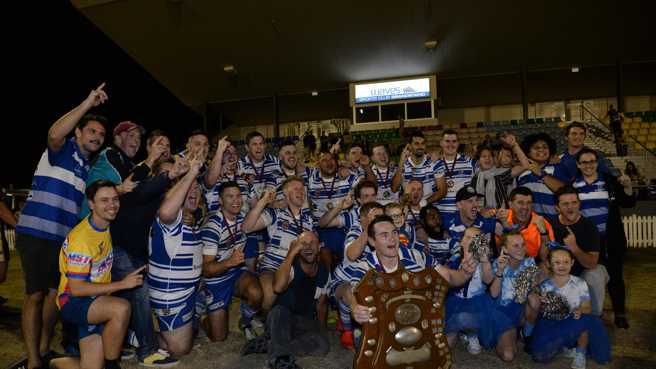 Brothers celebrate winning the Bundaberg Rugby League A-grade grand final title last year. The side will remain as the reigning premiers for this year and next year after the BRL cancelled the season.